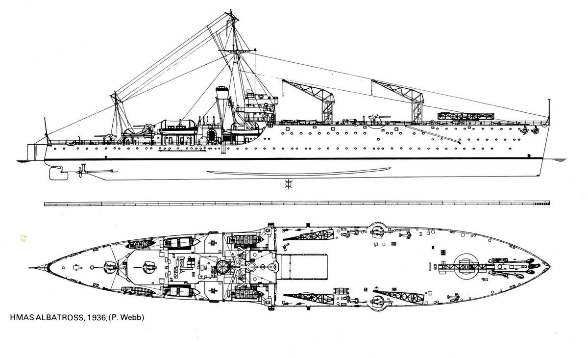 """Построенный в начале 30-ых австралийский гидроавианосец """"Альбатрос""""."""