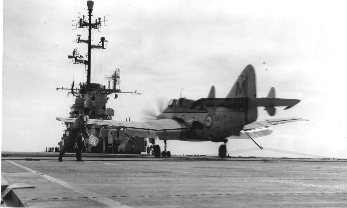 "816 Sqdn Gannet takes the wire. USS Phillipine Sea. 3 May 1958. LSO LEUT ""Shorty"" Roland"